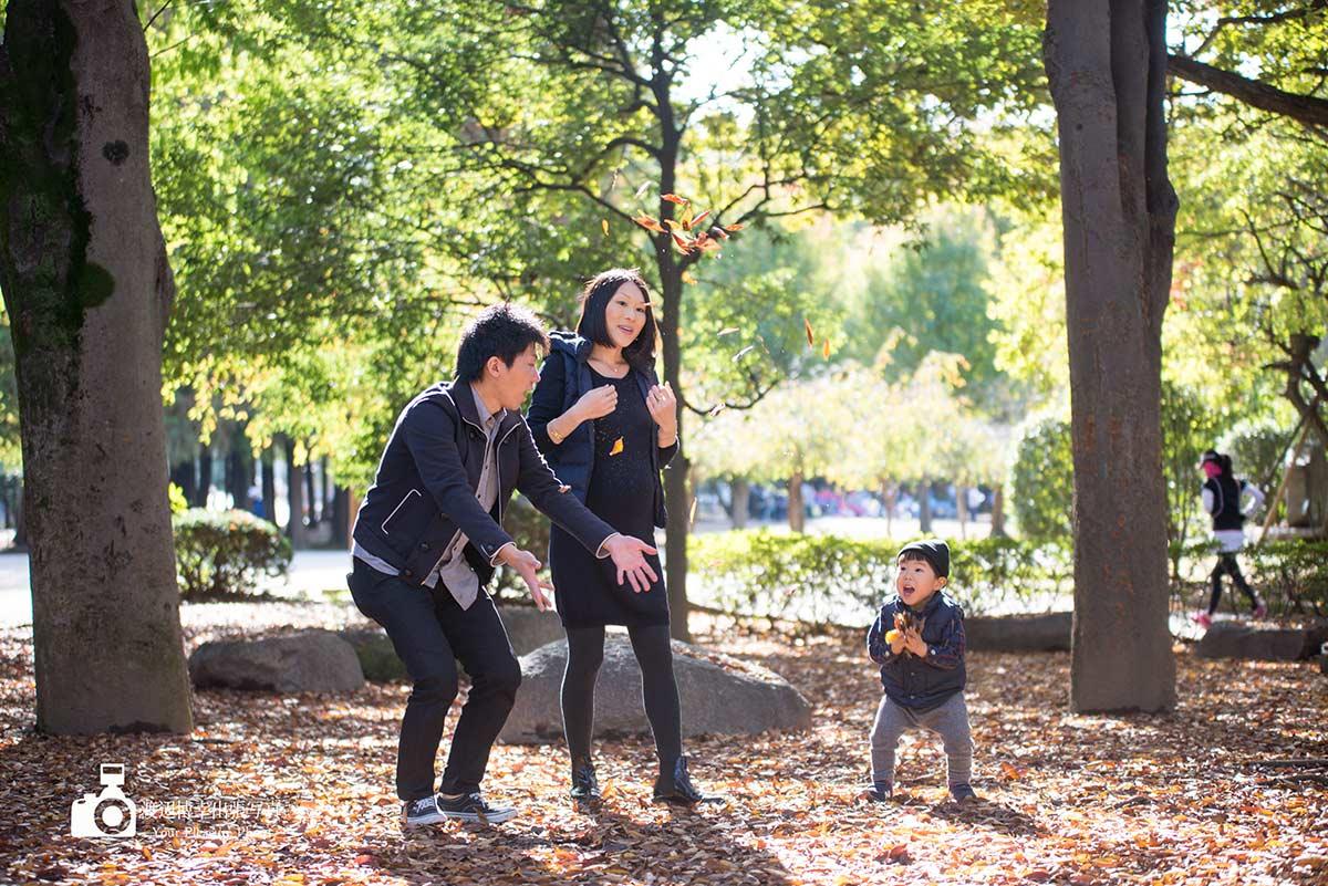 マタニティ撮影の3人家族