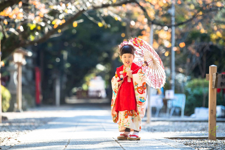 和傘を持つ七五三の着物姿の女の子