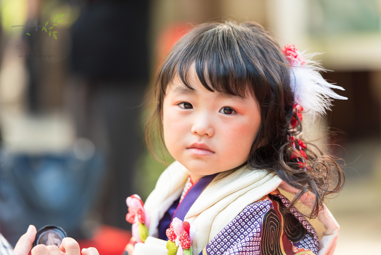 七五三の着物姿でこちらを見る小さな女の子